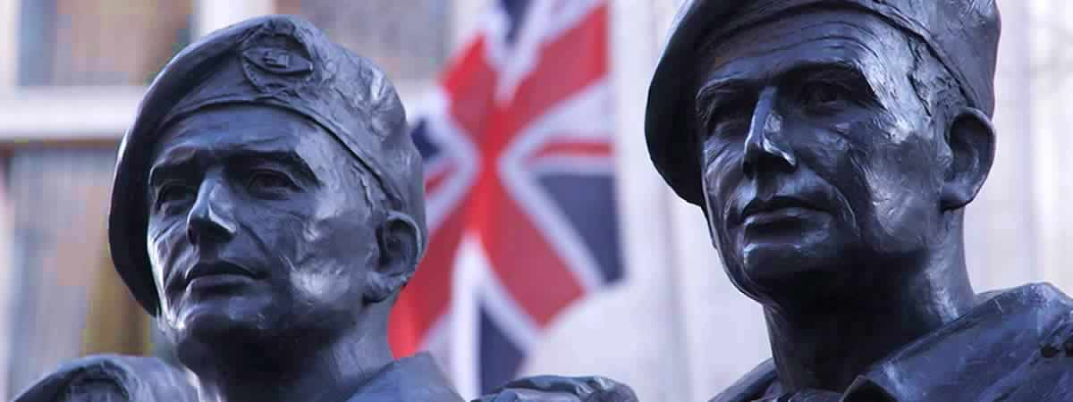Statue Soldiers of the Royal Tank Regiment Memorial from London Stock Footage